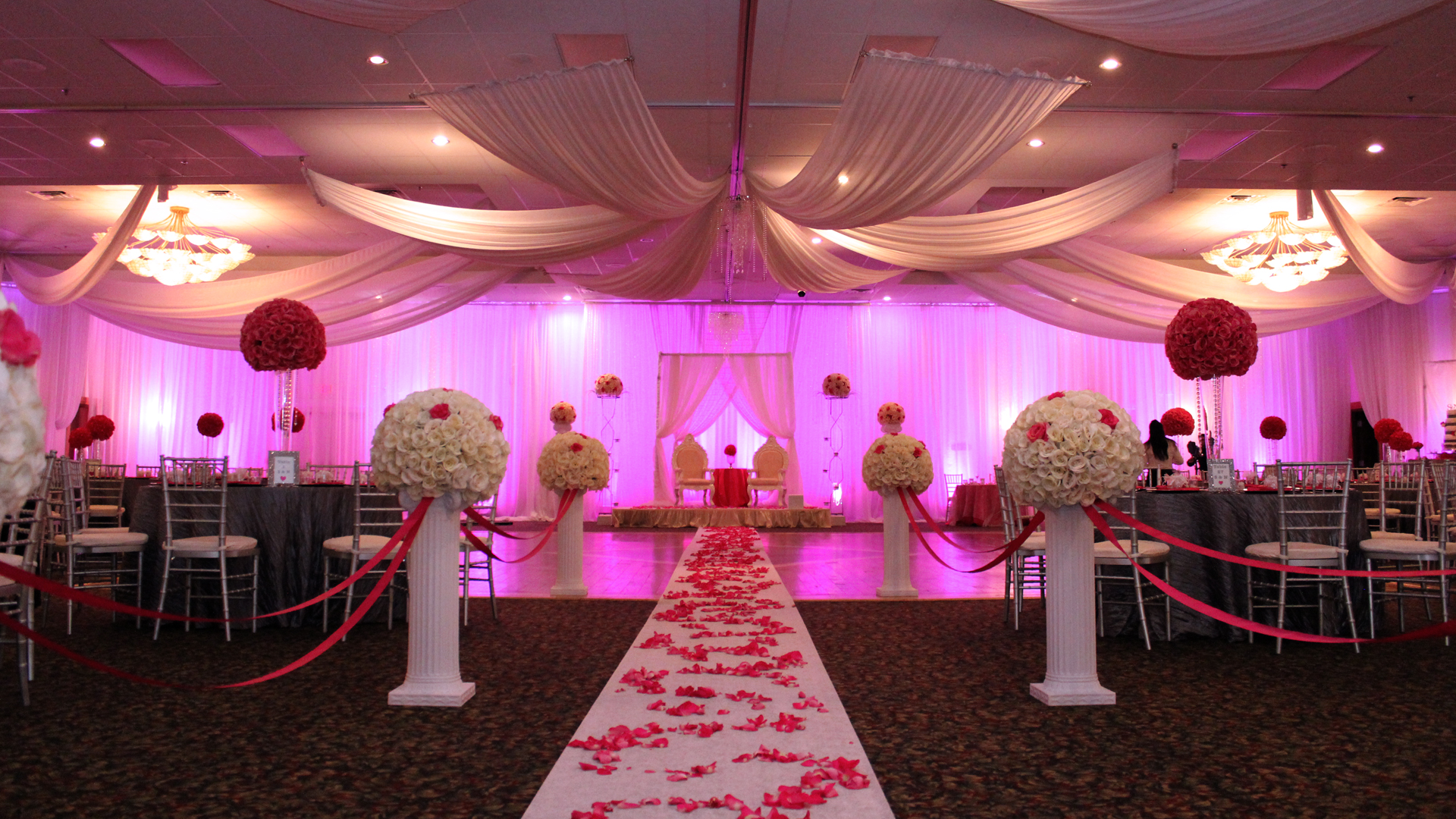 red and gray wedding reception in tampa bayanihan arts and events