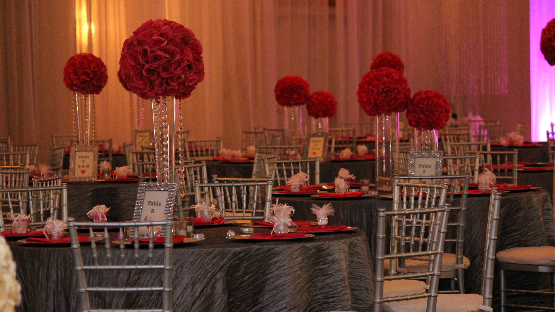 Red and Gray Wedding Reception