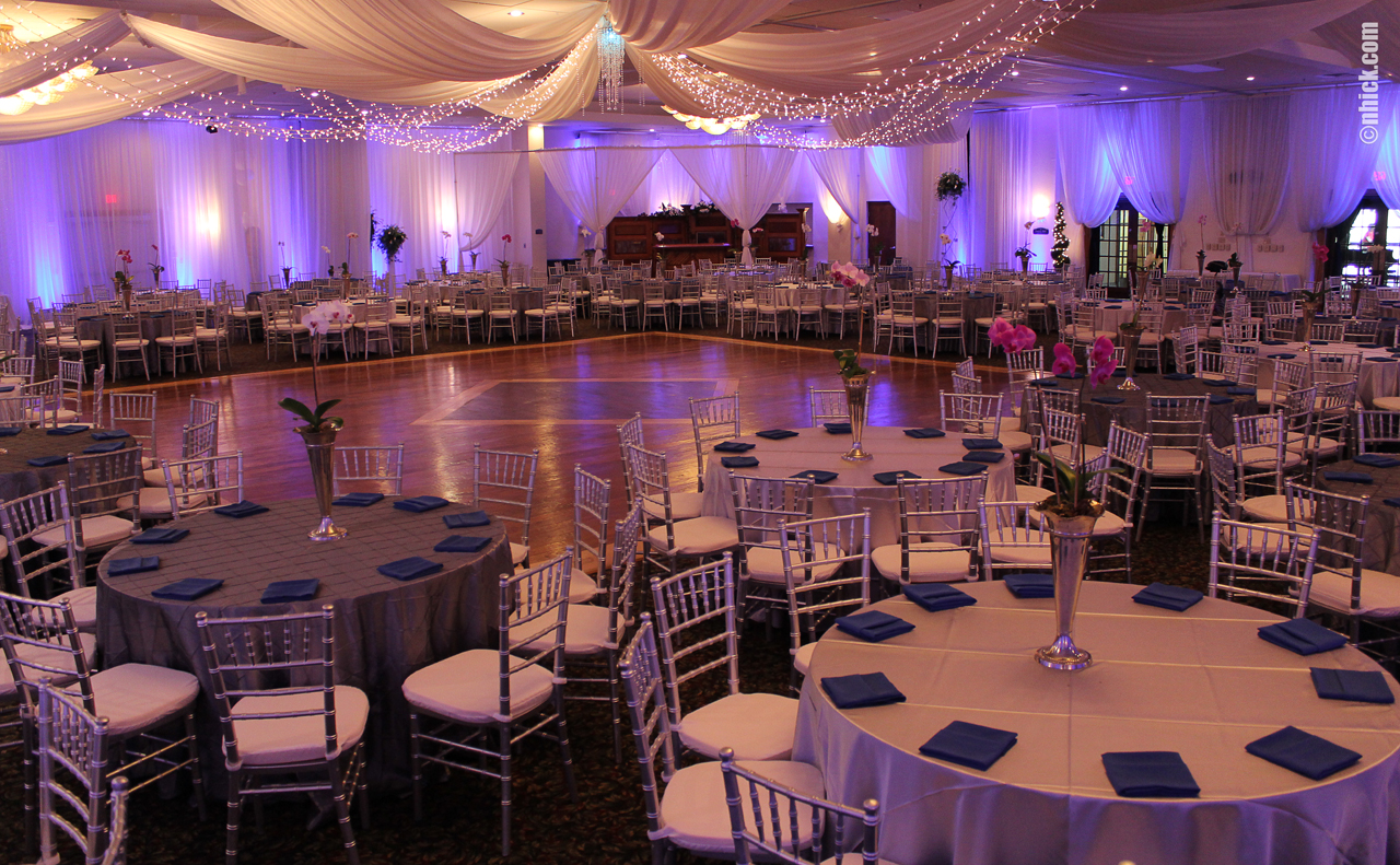 Event hall setup at the Grand Sampaguita Ballroom of the Bayanihan Arts and Events Center in Tampa, Florida