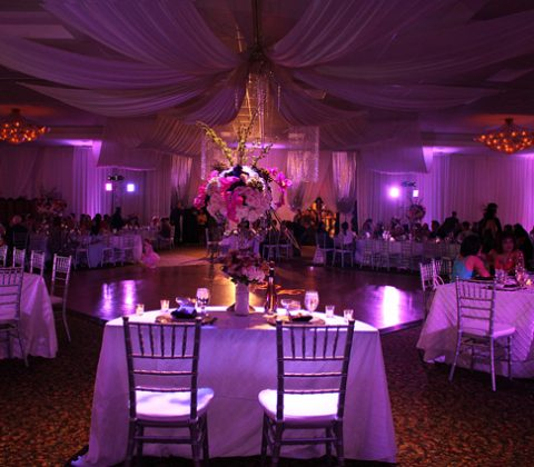Purple Celedon Hall Setup at the BAEC: Perfect Reception Hall in Tampa
